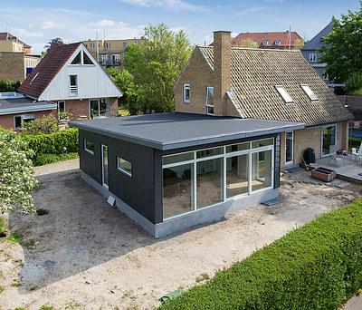 Ny 60 m2 tilbygning med Icopal tagpap og Rationel vinduer i København