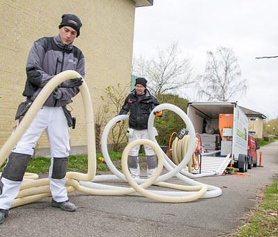 Hulmursisolering af hus i Smørum nær Ballerup