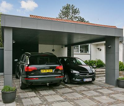 Ny udestue og dobbelt carport med KPK døre og vinduer i Nykøbing Falster