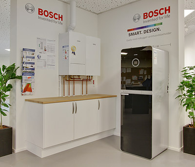 Flot Bosch gasfyr med indbygget varmtvandsbeholder