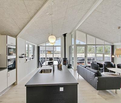 Nyt sommerhus med træterrasse, Outline vinduer, IBF tegltag og Morsø brændeovn nær Ringkøbing