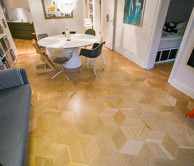 Nyt flot 35 m2 HexParket gulv fra Junckers i Roskilde