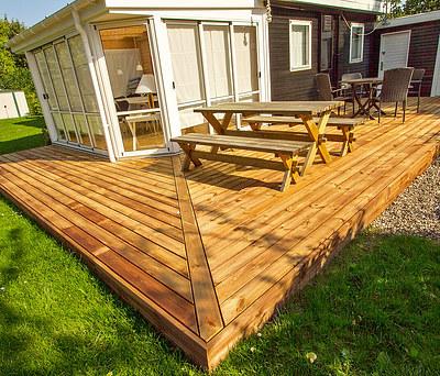 Ny 70 m2 træterrasse i Frøslev Træ til hus i Nykøbing Sjælland